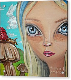 Alice Finds A Snail Acrylic Print by Jaz Higgins