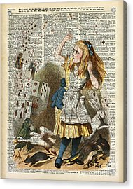 Alice In The Wonderland On A Vintage Dictionary Book Page Acrylic Print
