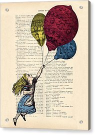 Alice In Wonderland With Big Colorful Balloons Acrylic Print