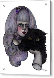 Alice With Black Cat Acrylic Print