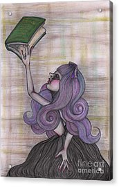 Alice With Old Book Acrylic Print by Akiko Okabe