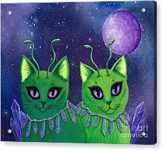 Acrylic Print featuring the painting Alien Cats by Carrie Hawks