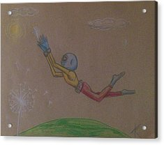 Acrylic Print featuring the drawing Alien Chasing His Dreams by Similar Alien
