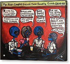 Alien Couples Discuss The Earths Creatures Over Drinks Acrylic Print