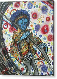 Acrylic Print featuring the painting alien Jimi Hendrix by Similar Alien