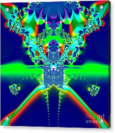 Acrylic Print featuring the digital art Alien Poodle Fractal 96 by Rose Santuci-Sofranko