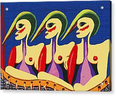 Acrylic Print featuring the painting Alien Sisters by Bill Thomson