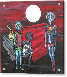 Acrylic Print featuring the painting Alien Superheros by Similar Alien
