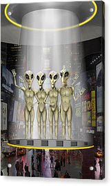 Alien Vacation - Beamed Up From Time Square Acrylic Print by Mike McGlothlen
