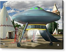 Alien Vacation - Gasoline Stop Acrylic Print by Mike McGlothlen