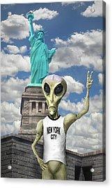 Alien Vacation - New York City Acrylic Print by Mike McGlothlen
