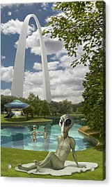 Alien Vacation - St. Louis Acrylic Print by Mike McGlothlen