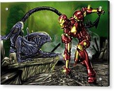 Alien Vs Iron Man Acrylic Print by Pete Tapang
