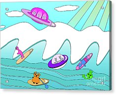 Aliens Go Surfing  Acrylic Print