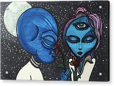 Aliens Love Flowers Acrylic Print