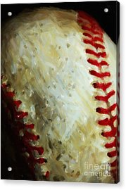 All American Pastime - Baseball - Vertical Cut - Painterly Acrylic Print by Wingsdomain Art and Photography
