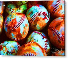 All American Pastime - Pile Of Baseballs - Painterly Acrylic Print by Wingsdomain Art and Photography