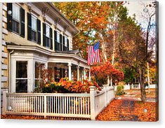 All American Street In Autumn - Woodstock, Vermont Acrylic Print by Joann Vitali