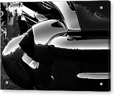 All Chromed Up 1957 Chevy Bumper Bw Card Acrylic Print by Lesa Fine