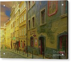 All Downhill From Here - Prague Street Scene Acrylic Print