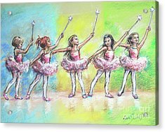 All Together Now...first Ballet Recital Acrylic Print by Laurie Shanholtzer