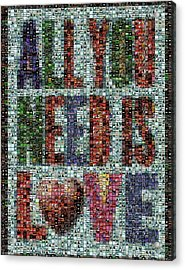 All You Need Is Love Mosaic Acrylic Print by Paul Van Scott