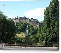 Allan Ramsay Statue And Edinburgh Castle Acrylic Print by Keith Stokes