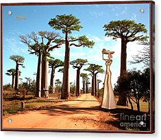 alley of baobabs and a statue of a  Girl Acrylic Print by Pemaro