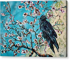 Almond Branch And Raven Acrylic Print