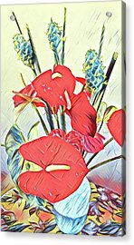 Aloha Bouquet Of The Day - Anthuriums And Green Ginger In Blue Acrylic Print