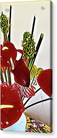 Aloha Bouquet Of The Day - Anthuriums In Darkl Red With Green Ginger - A Portion Acrylic Print