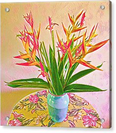 Aloha Bouquet Of The Day Halyconia And Birds In Pink Acrylic Print