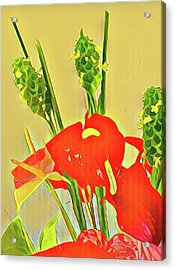 Aloha Bouquet Of The Day -- Red Anthuriums With Green Ginger, A Portion  Acrylic Print