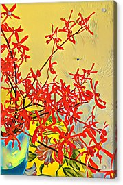 Aloha Bouquet Of The Day -- Red Orchids In Blue Vse Acrylic Print