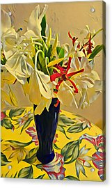 Aloha Bouquet Of The Day - White Gingert With Red Orchids - A New Hue Acrylic Print