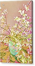 Aloha Bouquet Of The Day - White Orchids In Pink Acrylic Print