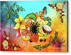 Acrylic Print featuring the digital art Aloha Tropical Fruits By Kaye Menner by Kaye Menner