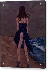 Alone By The Sea Acrylic Print by Francis Bourque