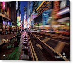 Alone In New York City 2 Acrylic Print by Jeff Breiman