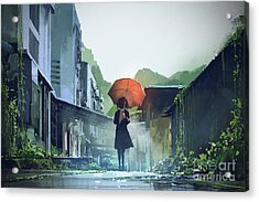 Alone In The Abandoned Town Acrylic Print