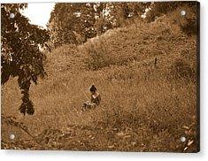 Alone With A Book Acrylic Print by Riad Belhimer