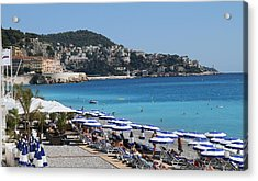 Acrylic Print featuring the painting Along The Beach In Nice Looking Over Toward Monaco by Rod Jellison