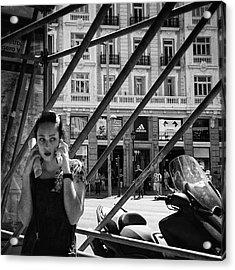 Alo?  #girl #woman #portrait Acrylic Print by Rafa Rivas