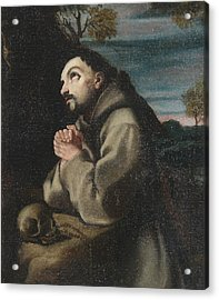 Alonso Cano Saint Francis In The Wilderness Praying To A Crucifix Acrylic Print by MotionAge Designs