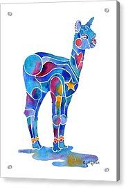 Acrylic Print featuring the painting Alpaca Cria Heartz N Starz by Jo Lynch