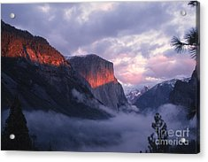 Alpen Glow On El Capitan Acrylic Print by Stan and Anne Foster