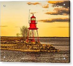 Alpena Harbor Lighthouse  At Sunset Acrylic Print