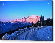 Alpenglow At Mt. Rainier Acrylic Print
