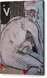 Alphabet Nude V Acrylic Print by Joanne Claxton