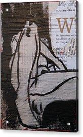 Alphabet Nude W Acrylic Print by Joanne Claxton